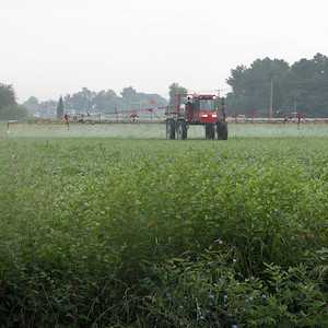 Over-application of herbicides and pesticides on farm fields can result in excess toxins and nutrients reaching the waterways. (Photo courtesy of J. Hawkey, IAN).