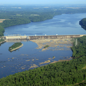 Aerial photo of the Conowingo Dam, located in the lower portion of the Susquehanna River. The dam traps some of the sediments and nutrients from flowing into the Bay. (Photo courtesy of J. Thomas, IAN).