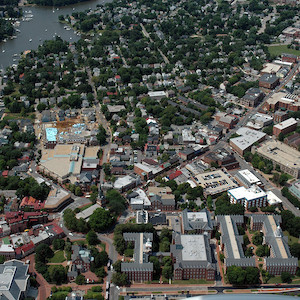 An aerial view showing downtown Annapolis, Maryland near church circle. (Photo courtesy of J. Thomas, IAN).